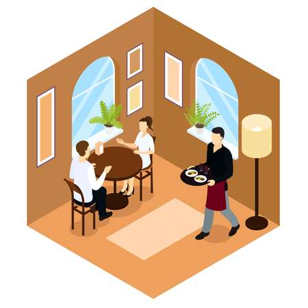 arched: Waiter service isometric composition in tan color with people at table in cafe or restaurant vector illustration Illustration