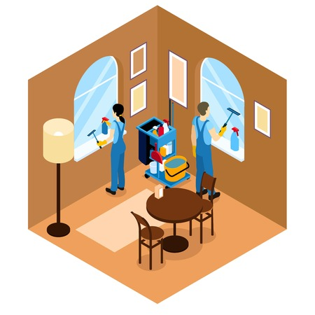 washing windows: Windows cleaning isometric design with man and woman washing glasses in cafe or restaurant vector illustration Illustration