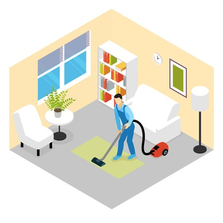 carpet cleaning service: Cleaning service isometric scene with worker vacuuming green carpet in room with white furniture vector illustration