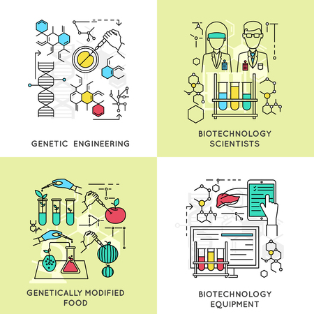 genetic engineering: Biotechnology linear compositions including scientists and genetic engineering modified food and professional equipment isolated vector illustration Illustration