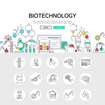 Biotechnologie lineaire begrip waaronder wetenschappelijke experimenten samenstelling en set van monochrome genmodifcatie iconen vector illustation