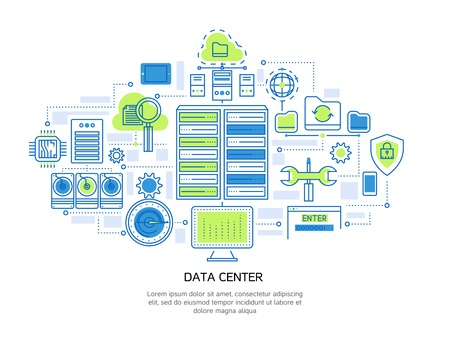 hardware configuration: Datacenter linear design including server infrastructure and information security cloud storage and microchip system vector illustration