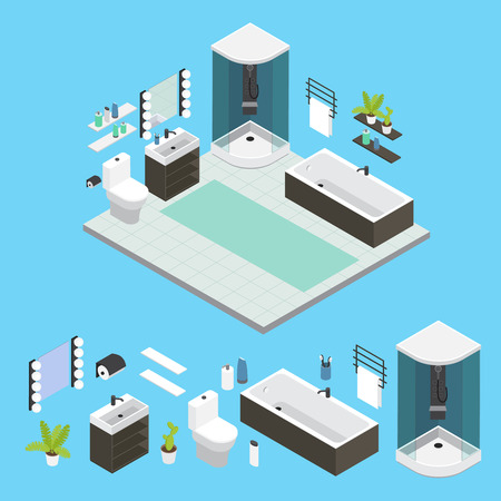 small room: Isometric Bathroom interior composition with shower small room tiled floor and isolated icon set vector illustration Illustration