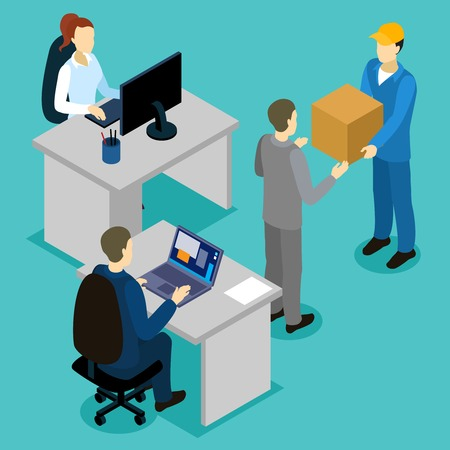 Delivery in office isometric composition with reception and transfer cardboard box on blue background vector illustration Illustration