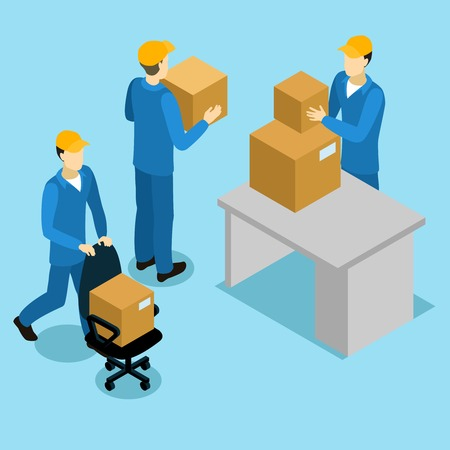 Delivery men at office isometric design with loaders and cardboard boxes on table and chair vector illustration