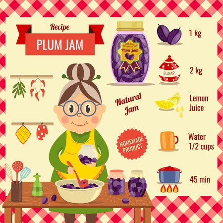 skimmer: Plum jam recipe flat design with housewife near wooden table and ingredients for dish vector illustration Illustration