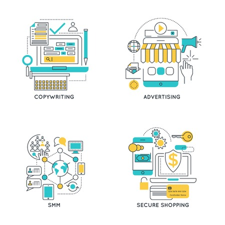 secure shopping: Digital marketing linear compositions with copywriting and advertising social media and secure shopping isolated vector illustration