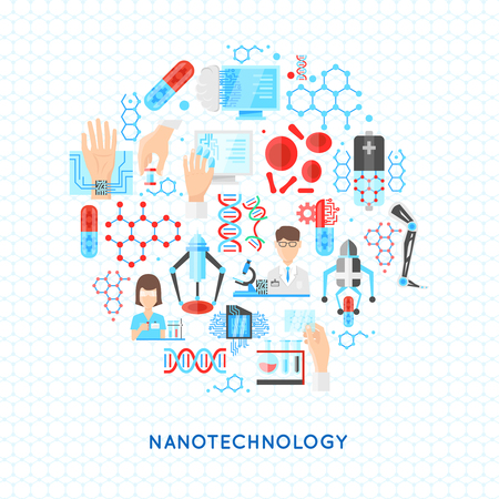 textural: Nanotechnology round design with structures from particles dna and drugs scientific laboratory on textural background vector illustration