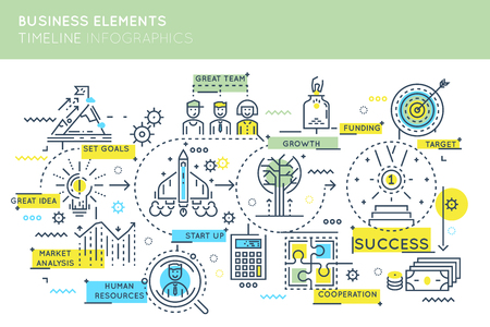 Business elements timeline infographics with development stages of organization by means of team and funding vector illustation
