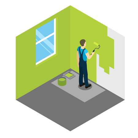 dye: House painter isometric design with worker applying green dye to wall in empty room vector illustration Illustration