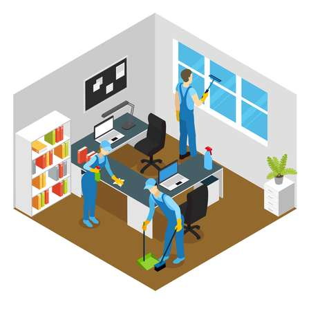 sweeping: Office cleaning isometric composition with washing of working tables and window sweeping of floor vector illustration