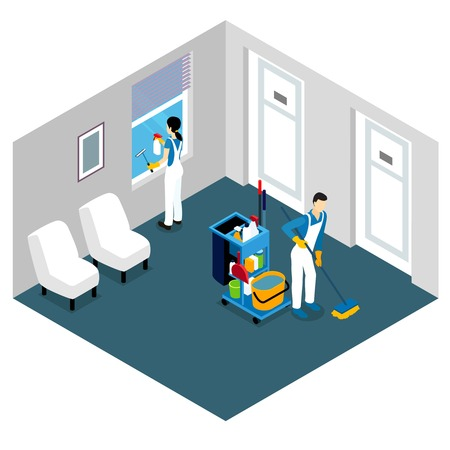 Professional cleaning isometric design with man tidying floor and woman washing window in office space vector illustration Illustration