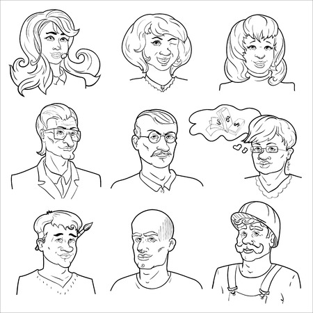 bald woman: Hand drawn avatars set with four women five men including painter and worker isolated vector illustration