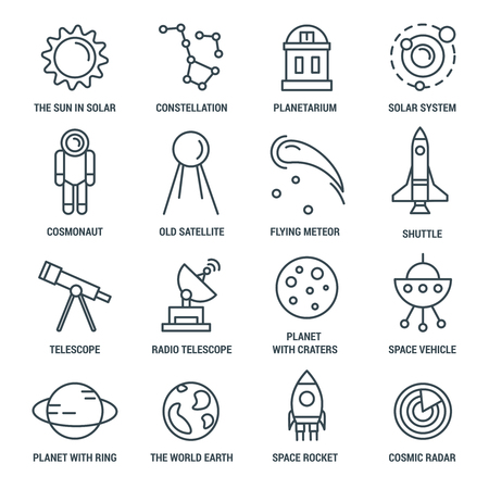 constellations: Space monochrome linear icons with solar system constellations shuttle and rocket telescopes and astronaut isolated vector illustration
