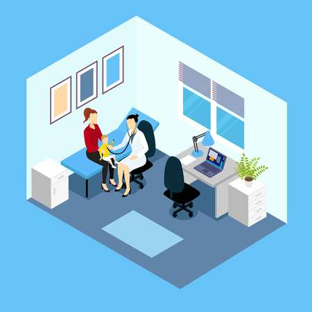 pediatrician: Reception at pediatrician isometric design with doctor woman and child on couch in counsulting room vector illustration