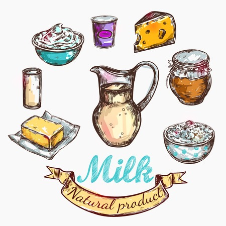 milker: Cow and nature milk color sketch with isolated colored icon set about farm and milk vector illustration