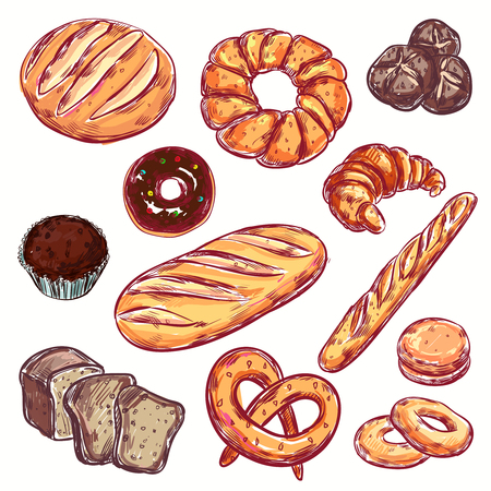 Line bread bakery icon set isolated colored elements with different types of bread and loaves vector illustration Illustration