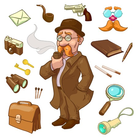 private eye: Private eye character in hat and glasses with smoking pipe briefcase gun and binoculars isolated vector illustration Illustration
