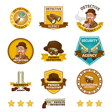 private eye: Detective agency emblems with private eye camera and binoculars gun and magnifier isolated vector illustration