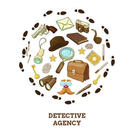private eye: Detective agency round composition with objects for activity hat and smoking pipe of private eye vector illustration