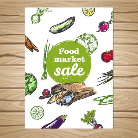 food market: Colored drawn food market sale flyer with vegetable print on wooden background vector illustration Illustration