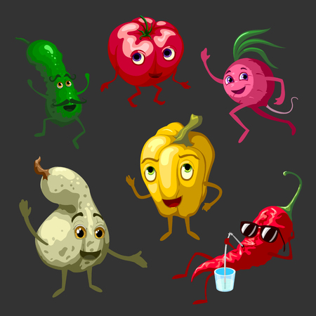moustached: Cartoon vegetables characters set with pepper in sunglasses and moustached cucumber on black background isolated vector illustration