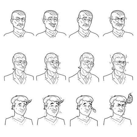 calmness: Business emotions avatars set with calmness joy doubt and anger on faces of men isolated vector illustration