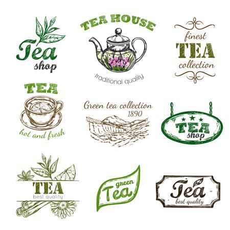 Sketch Tee-Set mit Tee-Haus traditionelle Qualität grüner Tee Sammlung Tee-Shop Beschreibungen Vektor-Illustration