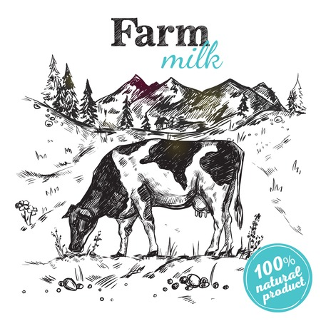 milker: Black sketch cow farm landscape poster with cow grazing in a meadow next to mountains vector illustration