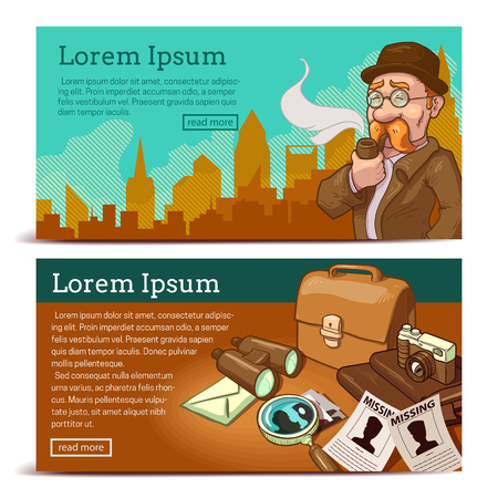 private eye: Detective agency horizontal banners with private eye on city background and objects for business isolated vector illustration