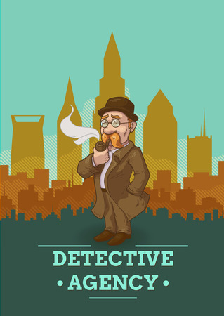 private eye: Detective agency poster with private eye in overcoat and hat on city scenery background vector illustration Illustration