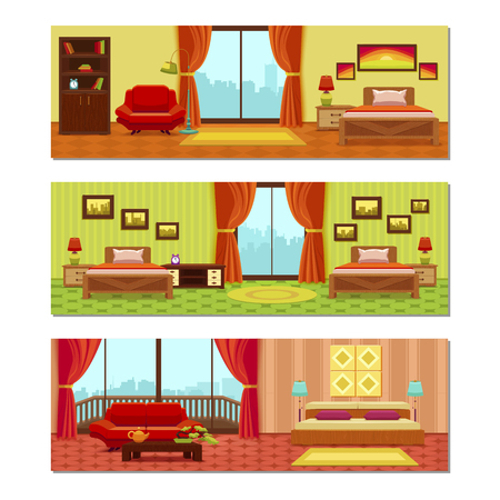 compositions: Hotel rooms compositions with beds tiled floor city scenery outside windows pictures on walls isolated vector illustration