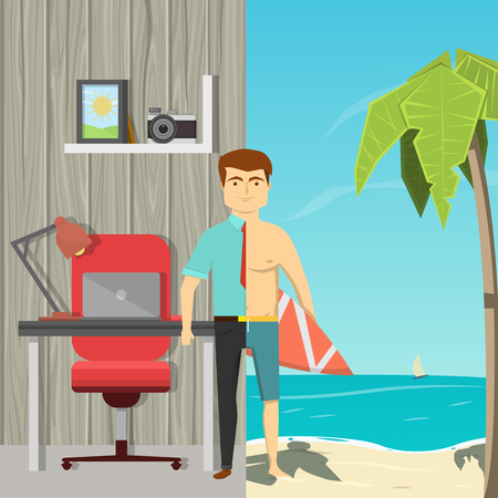 background texture metaphor: Flat cartoon image of man divided by half straddling office work and beach leisure background vector illustration