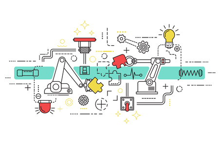 Assembly line art with isolated elements and icons combined in colored composition vector illustration Vectores