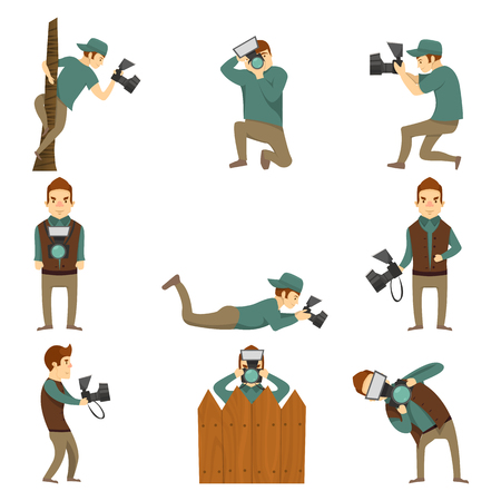 Flat isolated cartoon icons set of creative photographer male character taking photos in different positions blank background vector illustration Illustration