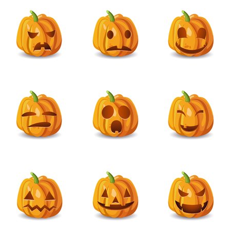 smileys: Set of nine isolated halloween pumpkin icons with emotions emoji smileys with shadows on blank background vector illustration