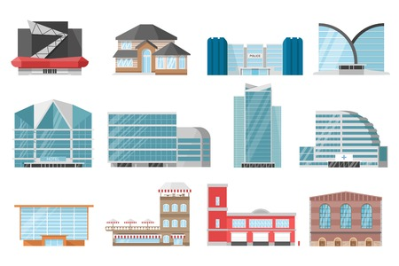 centers: City buildings icon set with house mirrored skyscraper and urban business centers vector illustration