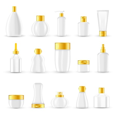 lids: Cosmetic packaging design set with white glass or plastic containers and golden lids isolated vector illustration
