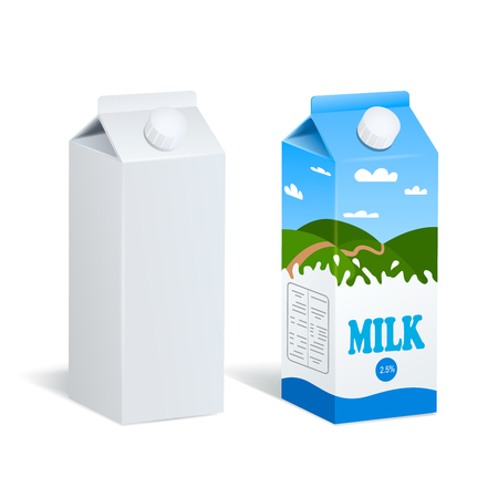 Two realistic images of similar raw carton package and tetra pak with milk label both isolated with shadows on blank background vector illustration