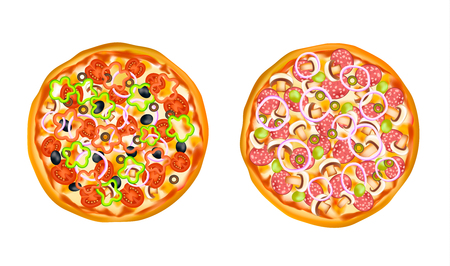 fillers: Set of two round isolated realistic images of pizza colorful similar with different fillers on blank background vector illustration Illustration