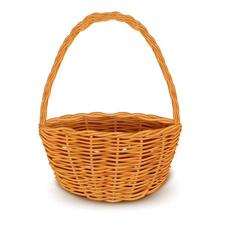 woven: Isolated realistic image of empty round woven basket made with wood without items front angle on blank background with shadow vector illustration