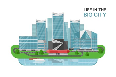City buildings concept with headline life in the big city and mirrored skyscraper vector illustration