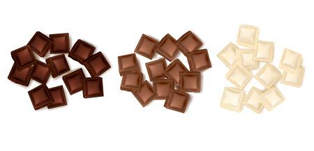 Set di tre isolati realistici colorati tele di fette di cioccolato che rappresentano latte scuro e illustrazione vettoriale di cioccolato bianco