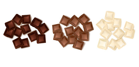 on white: Set of three isolated realistic colorful turds of chocolate slices representing dark milk and white chocolate vector illustration