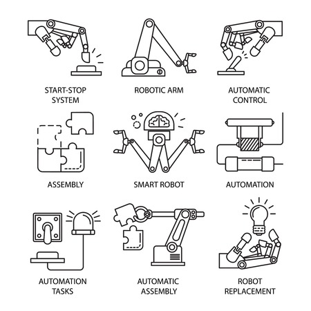 Isolated black assembly line icon set with smart robot automatic control automation tasks descriptions vector illustration Illustration