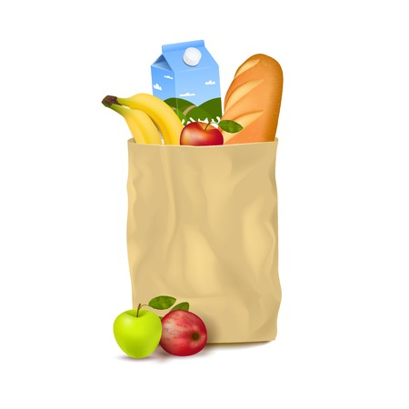 Isolated realistic image of brown craft paper bag full of food bread milk fruits with shadows vector illustration Illustration
