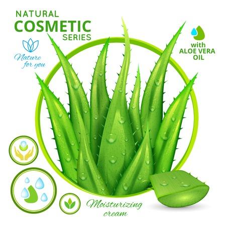 Aloë vera natuurlijke cosmetica poster met inbegrip van 3D-bladeren van planten bloemen embleem en organische pictogrammen vector illustratie