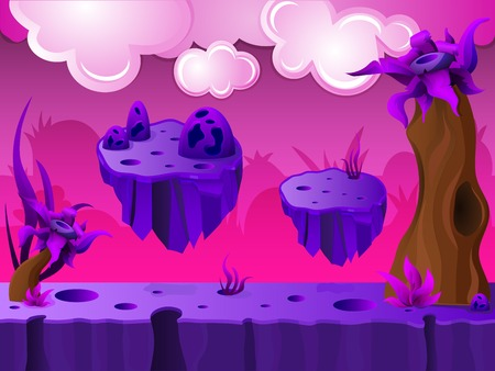 Purple crater land game design with platforms and clouds in sky on pink background vector illustration