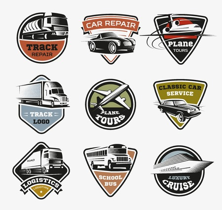 modes: Colorful flat isolated retro style emblems set for various transport modes air ground and water carriage vector illustration Illustration