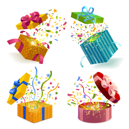 Open gift boxes of different design  and fireworks from confetti 3d set isolated vector illustration